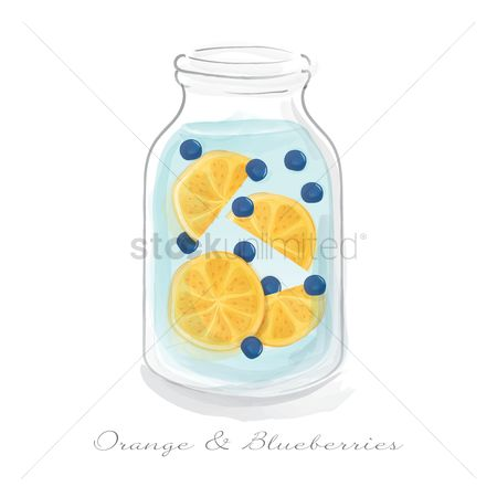 Blueberry : Orange and blueberries in a jar