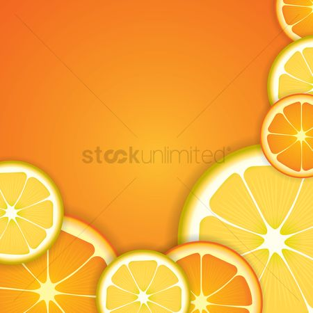 Slices : Orange and lemon slices background