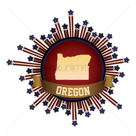 Oregon : Oregon state button with banner