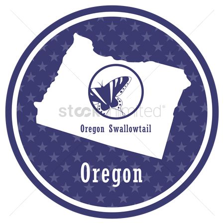Oregon : Oregon state map with oregon swallowtail