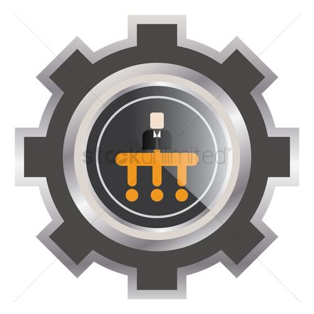 Authority : Organizational chart in a cogwheel icon