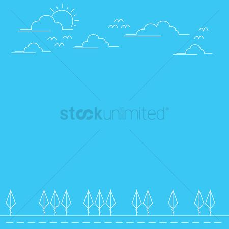 Minimalist : Outdoors with blue background