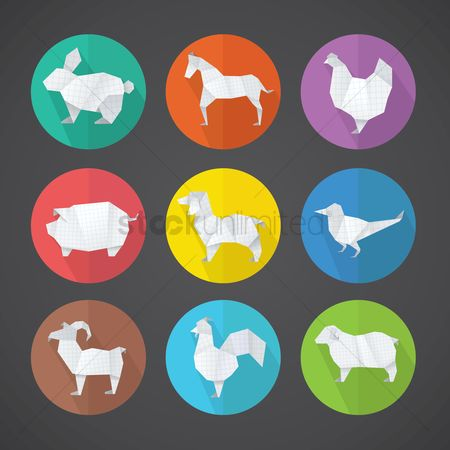 Cow : Paper animal icons