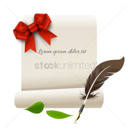 Write : Paper with ribbon and quill pen