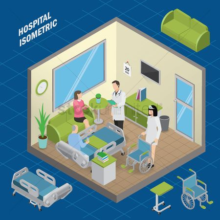 Medical : Patient room hospital isometric