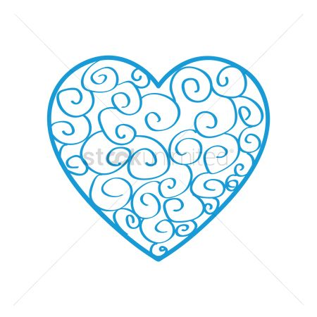 Valentines day : Patterned blue heart