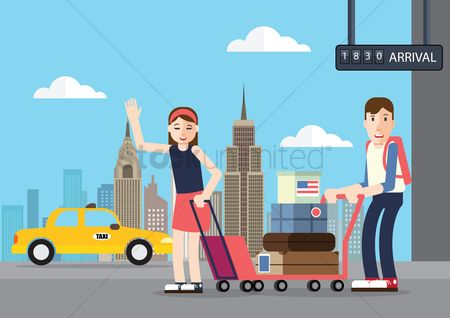 Trolley : People standing in international airport