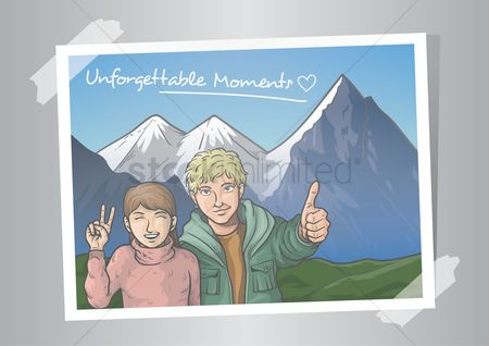 Tourist destination : Photograph of a couple with swiss alps
