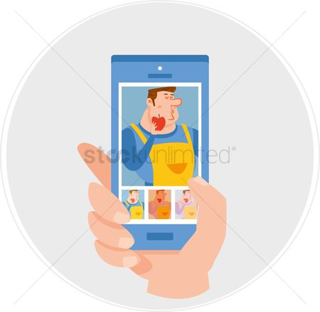 Snaps : Photograph of chef in a smartphone