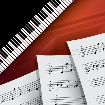 Musicals : Piano with musical sheets