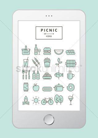Watermelon slice : Picnic icons set