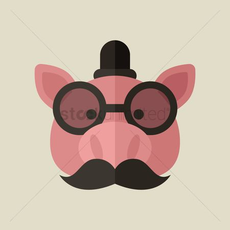 Animal : Pig with glasses and mustache