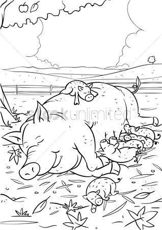 Grass : Pig with piglets