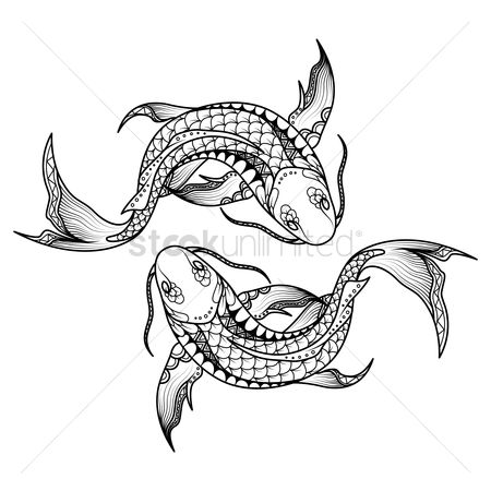 Horoscopes : Pisces zodiac intricate design