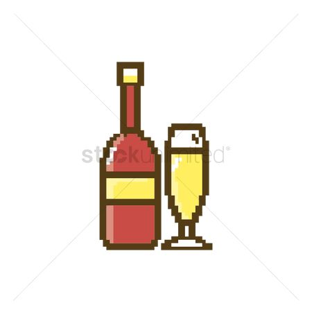 Champagnes : Pixel art bottle and glass of champagne