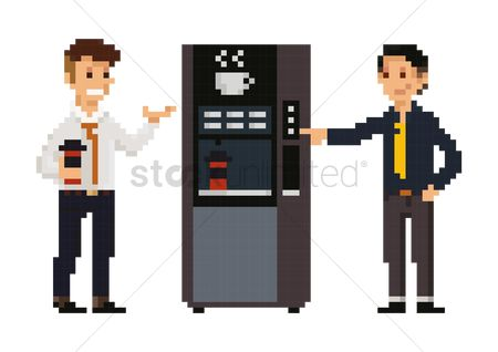 Workers : Pixel art businessmen at pantry