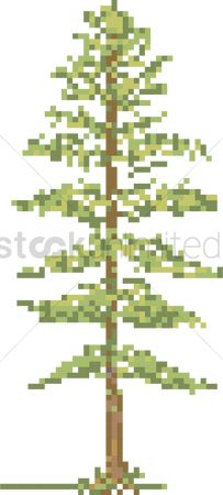 Vintage : Pixel green tree