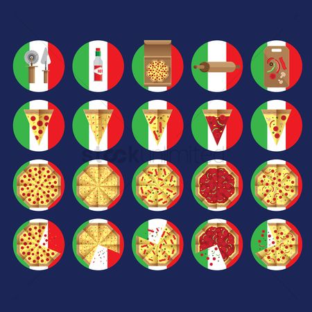 Junk food : Pizza against italian flag background
