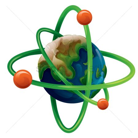 Neutron : Planet earth with atom concept