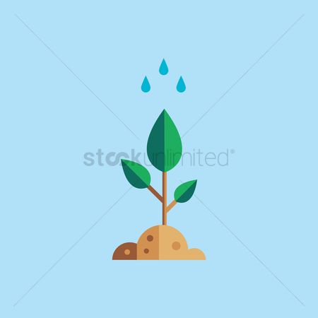 Save trees : Plant with water droplets