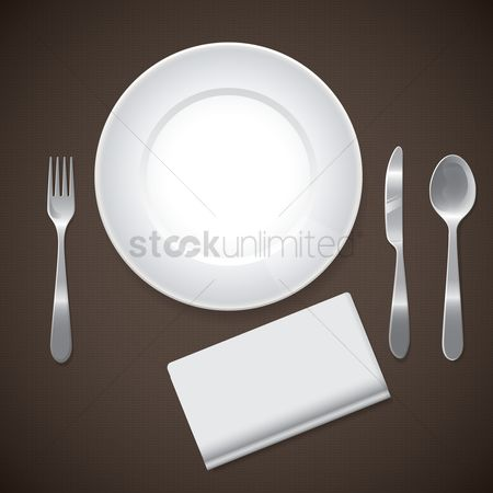 Plates : Plate and cutlery with tissue