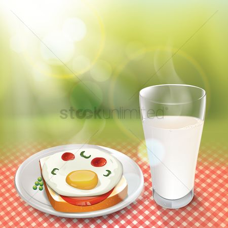 Plates : Plate of breakfast with milk