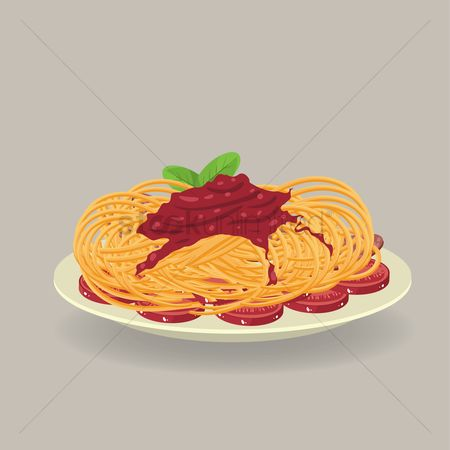 Italian foods : Plate of spaghetti with bacon strips