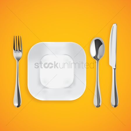 Fork : Plate with cutlery
