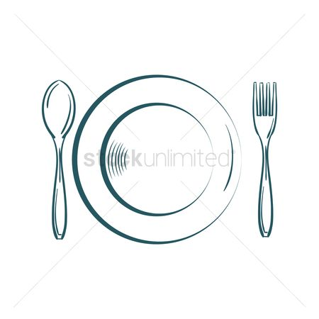Junk food : Plate with fork and spoon