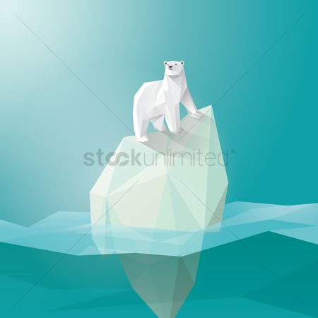 Ocean : Polar bear on iceberg