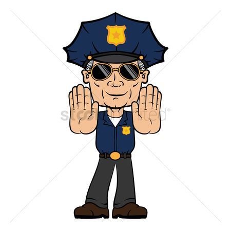 Policemen : Policeman with stop hand gesture
