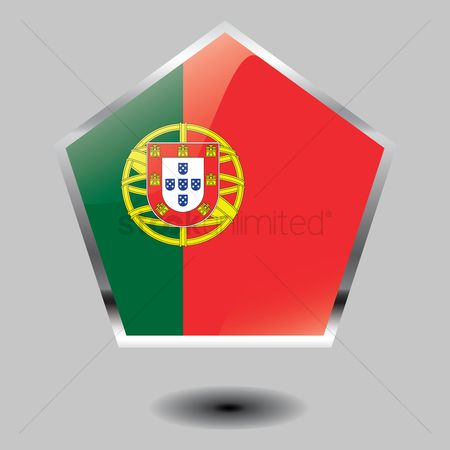 Pentagons : Portugal flag button