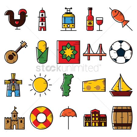 Lighthouses : Portugal icons set