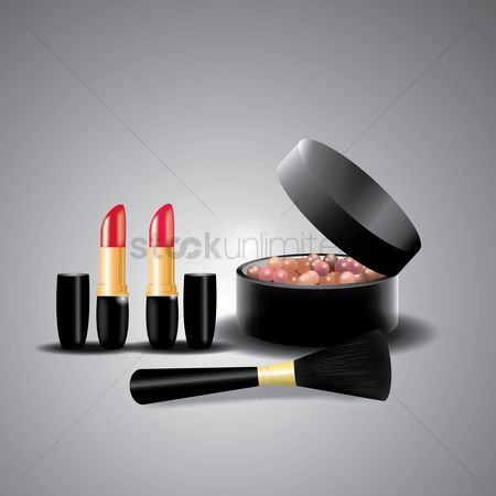 Cosmetic : Powder balls with brush and lipstick
