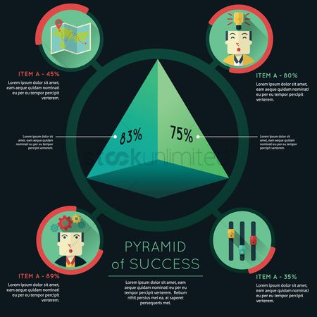 Map pointer : Pyramid of success infographic