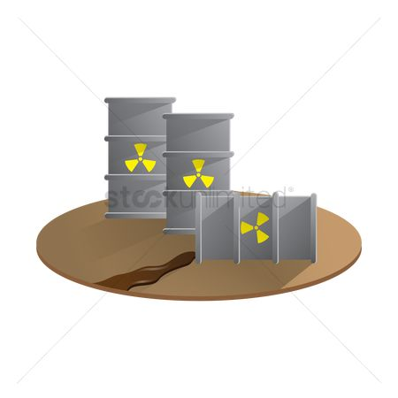 Pollution : Radioactive waste in drum containers