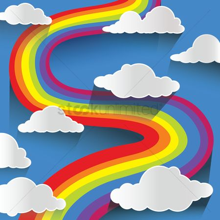 Rainbows : Rainbow and clouds