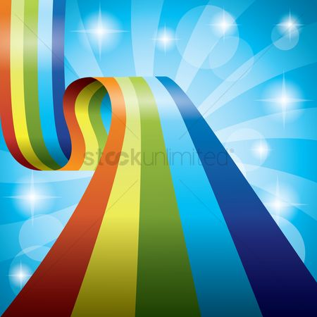 Spring : Rainbow ribbon background