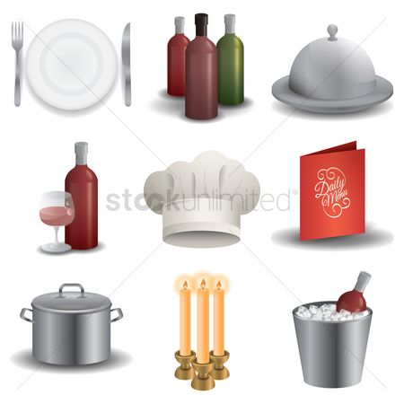 Dine : Restaurant icons set