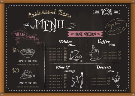 Blackboard : Restaurant menu board