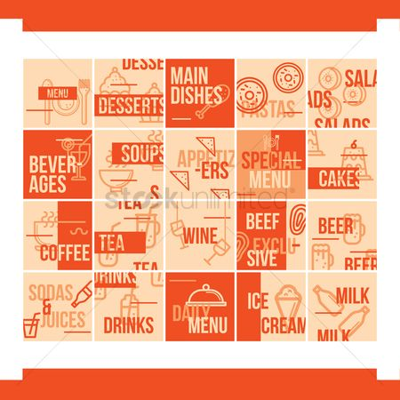 Dishes : Restaurant menu design set