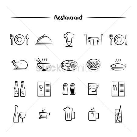 Plates : Restaurant menu icons set
