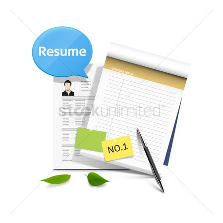 Sticky note : Resume with notepad and pen