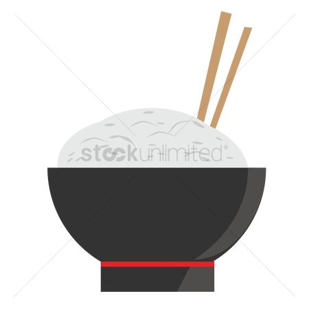 Dinner : Rice bowl and chopsticks