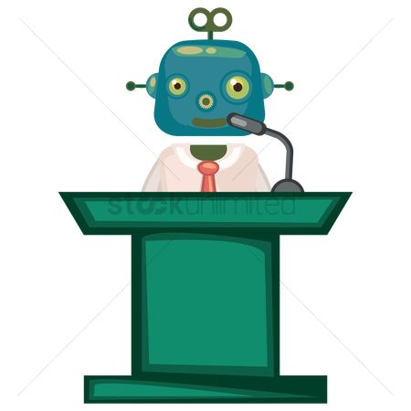 Mechanicals : Robot businessman giving a speech