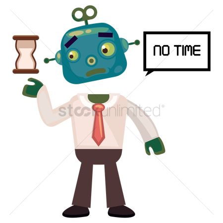 Mechanicals : Robot businessman holding an hourglass