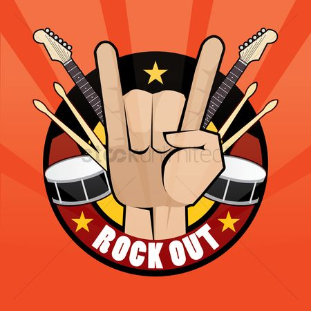 Drums : Rock hand sign with musical instruments