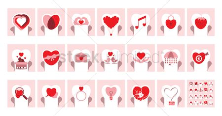 Love speech bubble : Romantic heart icons