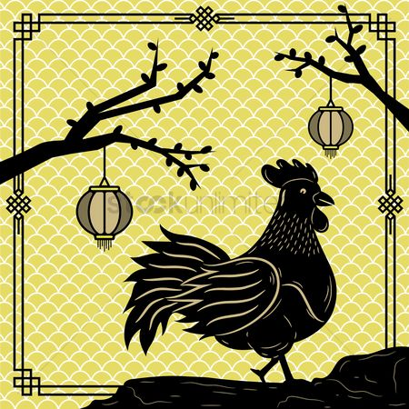 Old fashioned : Rooster oriental design
