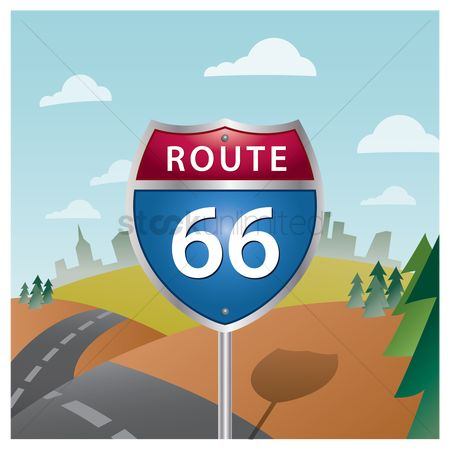 State : Route sixty-six road sign